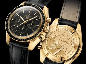 Who Makes The Best Omega Speedmaster Moonwatch Professional Chronograph Starmus Science Award Gold Watch Replica Watches Free Shipping